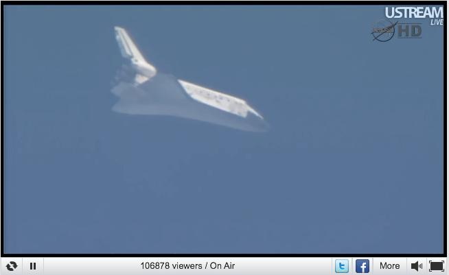 Space Shuttle Discovery 5 minuten voor landing