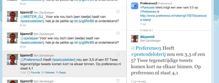 Twitterpagina Postcode loterij