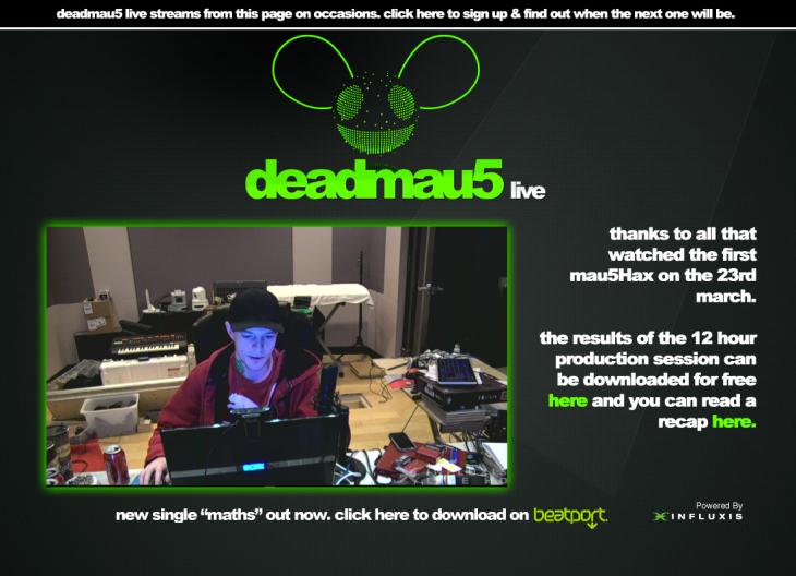 Deadmau5 produceert live voor fans
