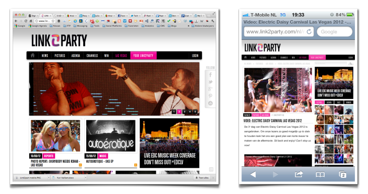 Link2party met responsive websdesign