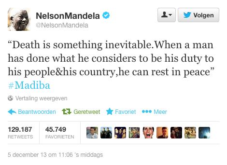 Nelson Mandela op Twitter